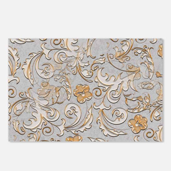 Gold and Silver Scrolls Postcards (Package of 8)