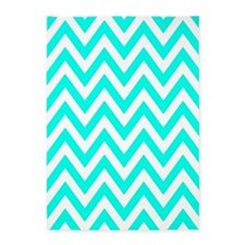 Turquoise Blue and White Chevrons 5'x7'Area Rug