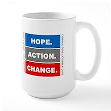 """Obama Slogan """"Hope Action Change"""" Mug"""