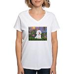 Lilies 4 / Bichon 1 Women's V-Neck T-Shirt