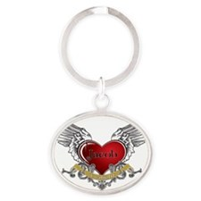 Twilight Jacob Heart Wings 3 Oval Keychain