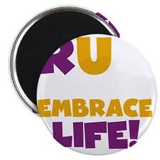 Run and Embrace Life Purple Yellow Magnet