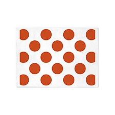 Big Polka Dots Placemat W Orange 5'x7'Area Rug