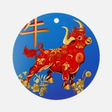 SHOWER CRTAIN Year Of The Ox Round Ornament