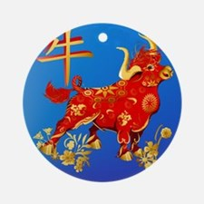 Year Of The Ox Round Ornament