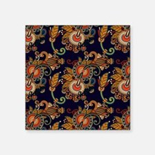 """Red and Blue Paisley Patter Square Sticker 3"""" x 3"""""""