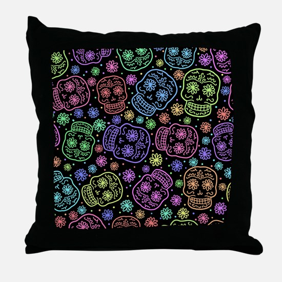 Day Of The Dead Pattern Throw Pillow