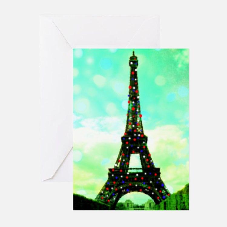 Eiffel Tower Christmas Tree card Greeting Cards