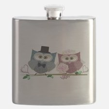 Wedding Owls Art Flask