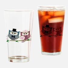 Wedding Owls Art Drinking Glass