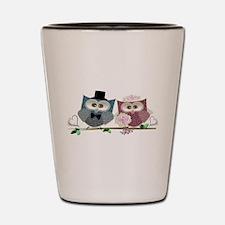 Wedding Owls Art Shot Glass