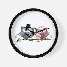 Wedding Owls Art Wall Clock