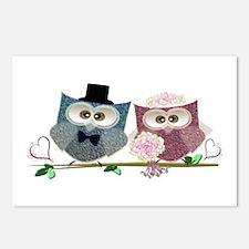 Wedding Owls Art Postcards (Package Of 8)