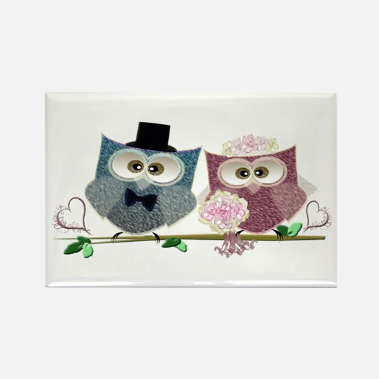 Wedding Owls Art Magnets