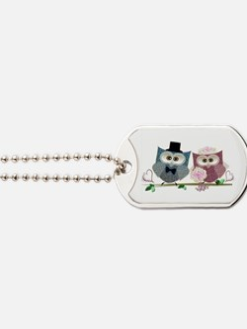 Wedding Owls Art Dog Tags
