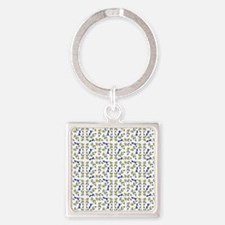 Blueberries On Vine Repeat Pattern Square Keychain