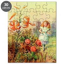 Alice in Wonderland Garden vintage art Puzzle