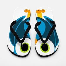 Cute Blue Cartoon Owl Flip Flops
