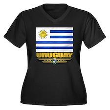Uruguay Flag Women's Plus Size Dark V-Neck T-Shirt
