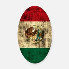 Flag of Mexico Grunge Distressed Oval Car Magnet