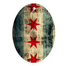 Chicago Flag Grunge Distressed Oval Ornament