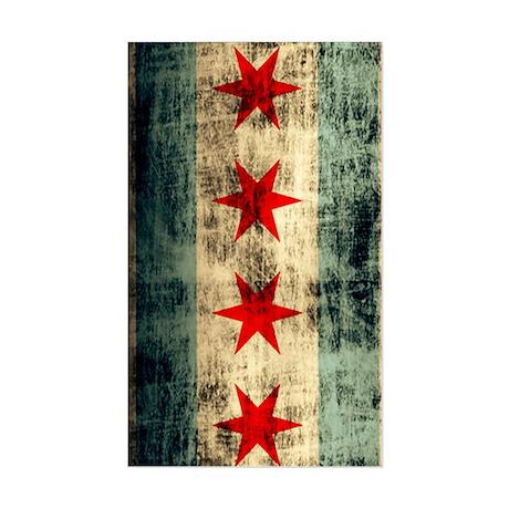 Chicago Flag Grunge Distressed Sticker (Rectangle)