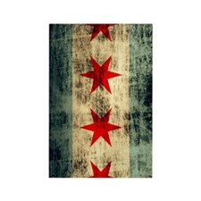 Chicago Flag Grunge Distressed Rectangle Magnet