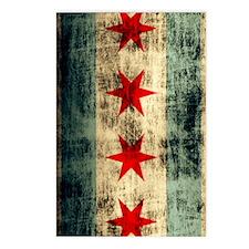 Chicago Flag Grunge Distr Postcards (Package of 8)