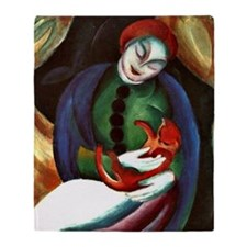 Franz Marc: Girl with a Cat II Throw Blanket