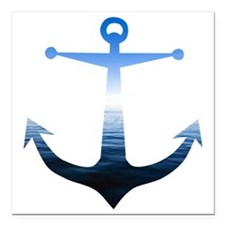 """Anchors Away Square Car Magnet 3"""" x 3"""""""