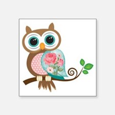 "Vintage Owl Square Sticker 3"" x 3"""