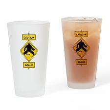 Caution Goalie Sign Drinking Glass