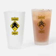 Caution Goalie Sign Drinking Glass