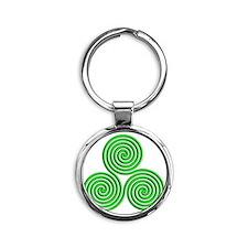 triskele Neon Green Round Keychain