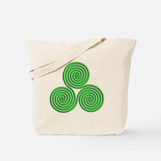 triskele Neon Green Tote Bag