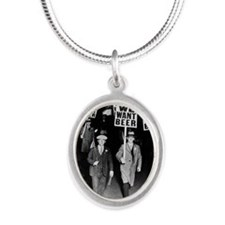 We Want Beer! Protest Silver Oval Necklace