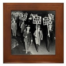 We Want Beer! Protest Framed Tile
