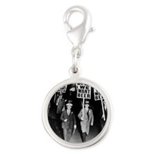 We Want Beer! Protest Silver Round Charm