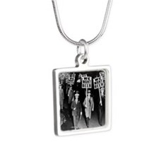 We Want Beer! Protest Silver Square Necklace