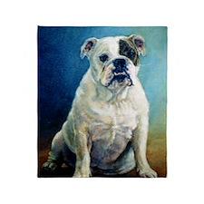 English Bulldog Dog Portrait Throw Blanket