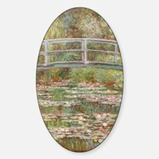 Monet Bridge over Pond of Water Lil Sticker (Oval)