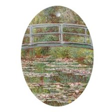 Monet Bridge over Pond of Water Lili Oval Ornament