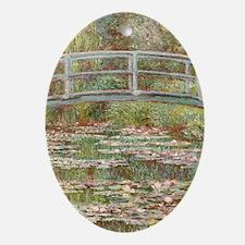 Monet Bridge over Pond of Water Lili Oval Ornament