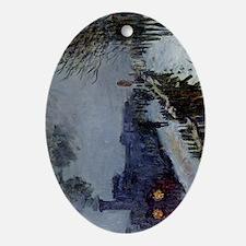 Monet Train in the Snow Oval Ornament
