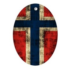 Norwegian Flag Grunge Distressed Oval Ornament