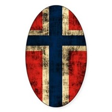 Norwegian Flag Grunge Distressed Decal