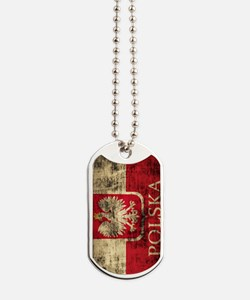 Polska Polish Flag Coat of Arms Grunge Di Dog Tags