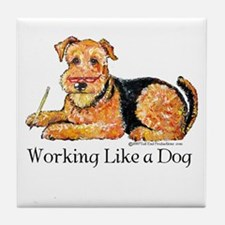 Working Airedale Tile Coaster