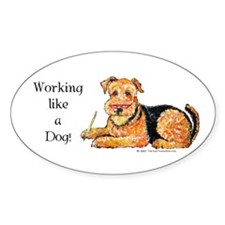 Working Airedale Oval Decal