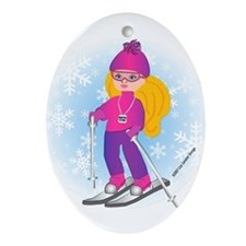 Ski Girl (blonde) Oval Ornament